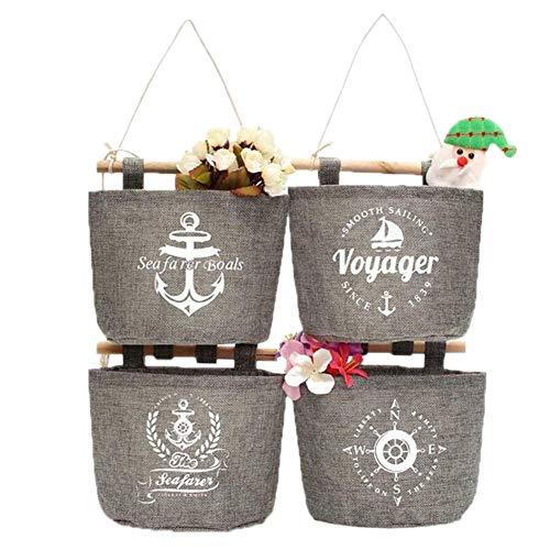 4x Milopon Wand Hängeorganizer Wandtaschen Baumwolle Aufbewahrungstasche hängenden Hängeaufbewahrung Beutel Maritime Tür zurück Aufbewahrungstasche - 5