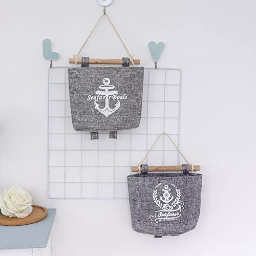4x Milopon Wand Hängeorganizer Wandtaschen Baumwolle Aufbewahrungstasche hängenden Hängeaufbewahrung Beutel Maritime Tür zurück Aufbewahrungstasche - 7
