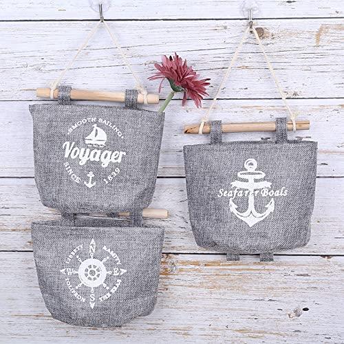 4x Milopon Wand Hängeorganizer Wandtaschen Baumwolle Aufbewahrungstasche hängenden Hängeaufbewahrung Beutel Maritime Tür zurück Aufbewahrungstasche - 2