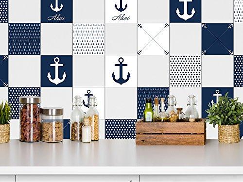 Graz Design® Fliesenaufkleber maritim Fliesen zum Aufkleben Bad & Küche Anker Ahoi blau weiß (10x10cm // Set 10 Stück) - 2