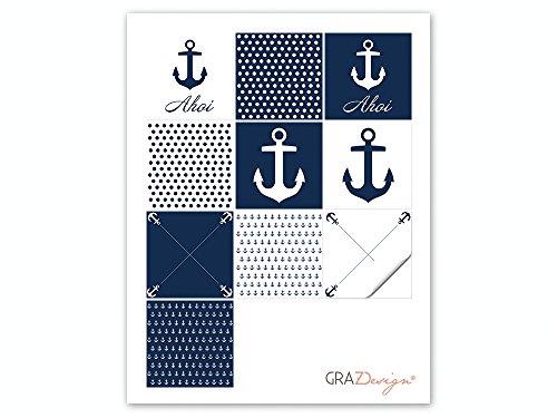 Graz Design® Fliesenaufkleber maritim Fliesen zum Aufkleben Bad & Küche Anker Ahoi blau weiß (10x10cm // Set 10 Stück) - 3