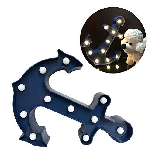 LEDMOMO 11Pcs LED-Lampe beleuchtete Anker-Zeichen-Wand-Dekor, batteriebetriebenes Kind-Schlaf-Zeichen Warmes weißes Nachtlicht-Kinderzimmer-Anker-Dekor (blau)