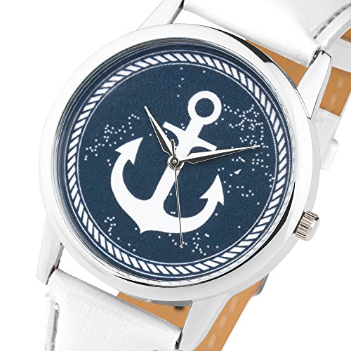 Taffstyle Quarzuhr mit PU Leder Armband und Anker in Maritim Vintage Style – Weiß / Blau - 2