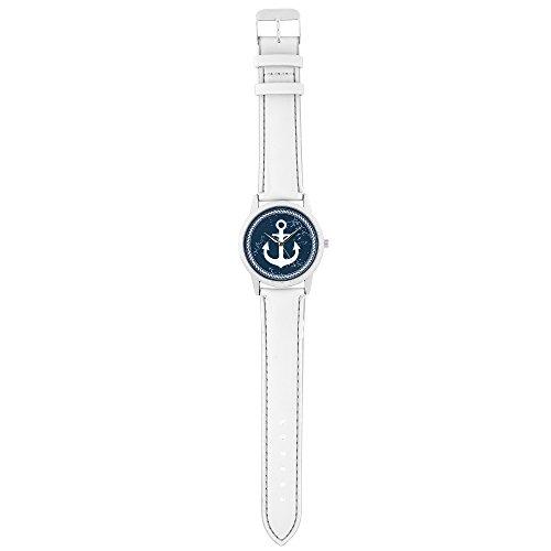 Taffstyle Quarzuhr mit PU Leder Armband und Anker in Maritim Vintage Style – Weiß / Blau - 5