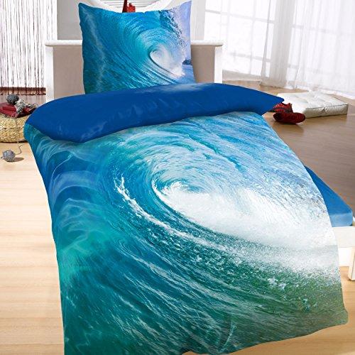 Baumwoll Satin Bettwäsche Wende 135x200 2-teilig Maritim blau Wasser Meer