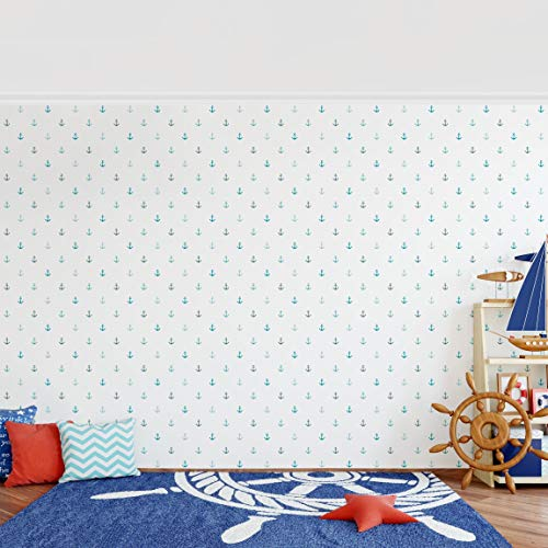 Vliestapete–keine. yk62Anker türkis–Wandbild breit Tapete Wand Wandbild Foto Funktion 3D Tapete wall-art Tapete Wandmalereien Schlafzimmer Wohnzimmer Dimension H: 255cm x 384cm - 2