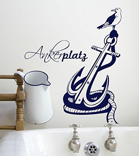 Wandtattoo Ankerplatz Anker maritim zuhause M1472 - ausgewählte Farbe: *Schwarz* ausgewählte Größe: *S 60cm breit x 74cm hoch - 2